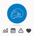 motorcycle helmet icon biking sport sign vector image