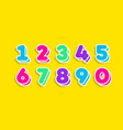 number set cute 3d bold vector image vector image