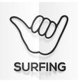 paper silhouette black surfers shaka symbol vector image vector image