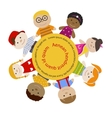 Round frame with children vector image vector image