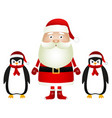 santa claus with penguins in caps and scarves vector image