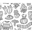 seamless autumn background with comic pumpkin owl vector image vector image