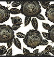 seamless pattern with graphic dark and golden rose vector image vector image