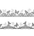 seamless patterns with black butterflies vector image