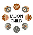 set isolated moon child phases icons vector image