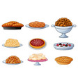 Set of cartoon bread isolated on white background