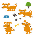 Set of happy cartoon dogs vector image vector image