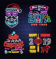 set of merry christmas and 2019 happy new year vector image vector image