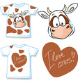 shirt with cute brown and white cow vector image vector image