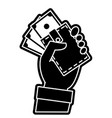 silhouette hand with bill cash money and wallet vector image vector image