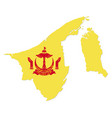 simple map brunei with emblem vector image vector image