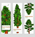 Sketch trees banner in vintage style vector image vector image
