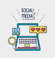 social media element to connection network vector image vector image