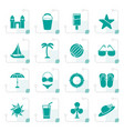 stylized beach sea and holiday icons vector image vector image