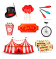 travelling circus elements set vector image