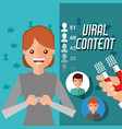 viral content woman holding mobile with magnet vector image vector image