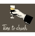 Woman hand hold a glass of champagne vector image