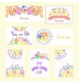 Set of cards with flowers and ribbons vector image