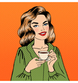 Beautiful Woman with Cup of Coffee Pin Up Girl vector image vector image