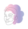 beautiful women face in one line drawing style vector image vector image