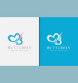 beauty blue and pink butterfly combined with vector image vector image