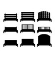 benches benches black silhouettes vector image vector image