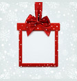 Blank red square banner in form of Christmas gift vector image vector image