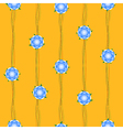 Blue Flower Vine Yellow Background vector image