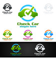 car service logo with car and repair concept vector image