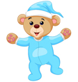 Cartoon teddy bear in blue pajamas vector image