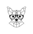 chihuahua dog in glasses and a bow tie geometric vector image vector image