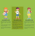 childrens day web banner with playful boy and girl vector image vector image