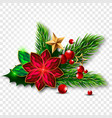 christmas tree with mistletoe made of jewels vector image vector image