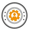 circular frame with silhouette gear wheel frame vector image vector image