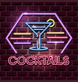 cocktails neon advertising sign vector image