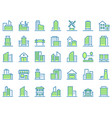 color line building icons green town icon city vector image vector image