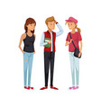 colorful women students standing and boy with vector image vector image