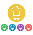 cook colored flat style round icons vector image vector image