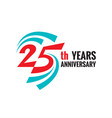 creative emblem twenty five years anniversary vector image