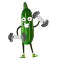 cucumber lifting weights on white background vector image vector image