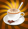 Cup of cappuccino over rays vector image
