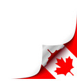 Curled up Paper Corner on Canadian Flag Background vector image vector image