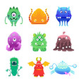 cute cartoon monsters alien characte set vector image