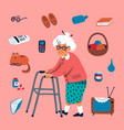 cute grandmother walking with a walker and some vector image vector image