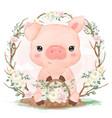 cute watercolor little pig vector image