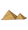 egyptian pyramids on white background vector image vector image