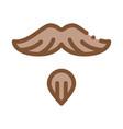 goatee beard mustache icon outline vector image
