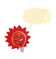 happy flashing red light bulb cartoon with speech vector image