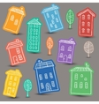 Houses doodles on colored background vector image vector image