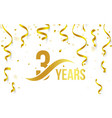isolated golden color number 3 with word years vector image vector image